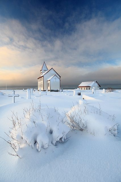 White Church And Cemetary.: Iceland, Snow, Beautiful, Winter Wonderland, White Church, Place, Photo, Country Churches