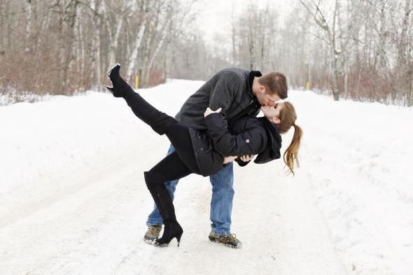 Another dip - snowy engagement photos. And high heel boots in the snow...why not?