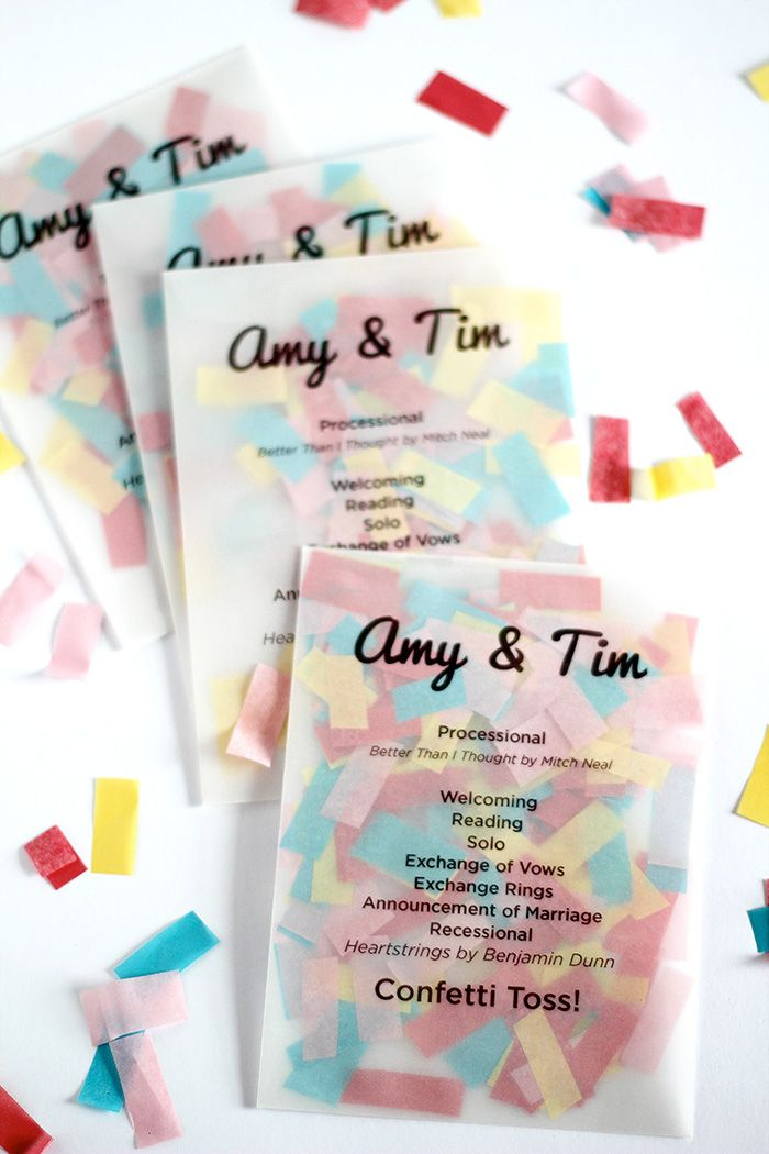 Confetti Programs! I love this idea! So cute! Maybe a confetti toss down the isle instead of a sparkler leave