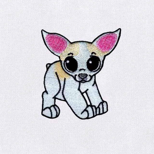 Digitizing Photos For Embroidery Friendly White Chihuahua Dog Embroidery Design