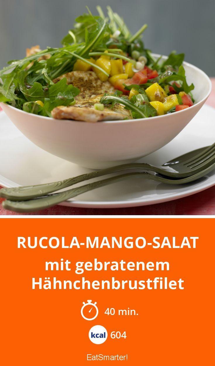 Rucola-Mango-Salat mit gebratenem Hähnchenbrustfilet. YUMMY!