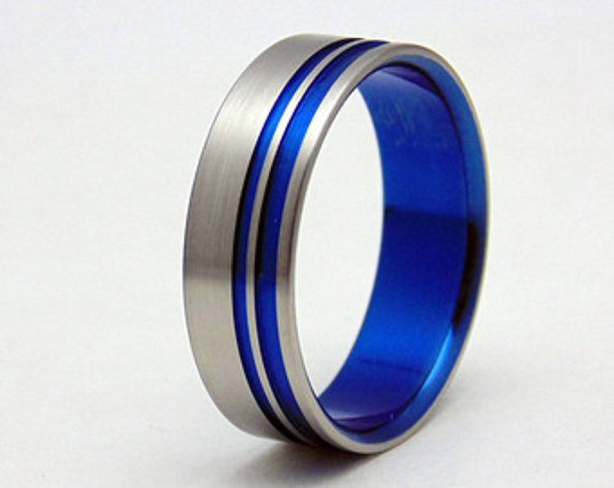 His And Hers Cobalt Blue Anodized Wedding Band Set Etsy Wedding Band Sets Wedding Bands Blue Wedding Band