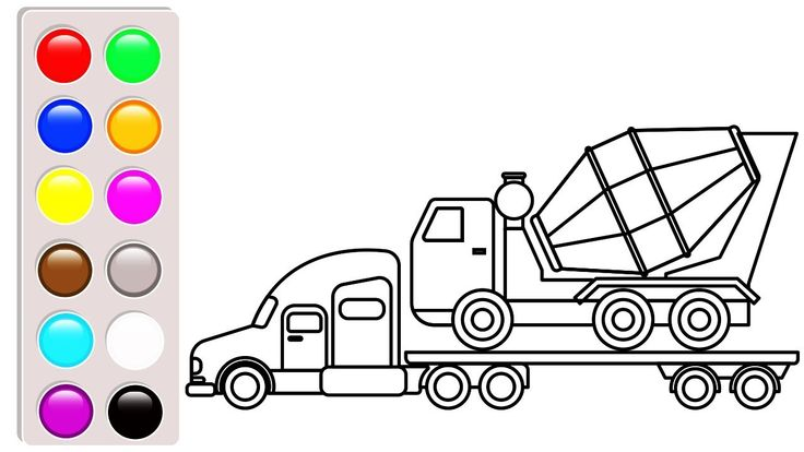 Container And Cement Truck Coloring Pages Construction Vehicles Car