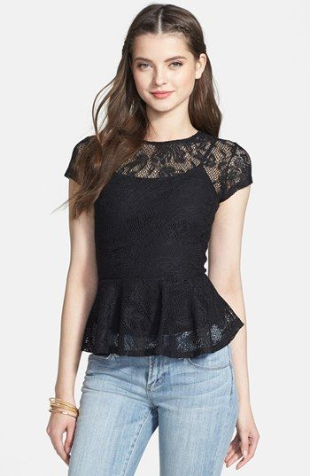 Mimi Chica Lace Peplum Top (Juniors) available at #Nordstrom