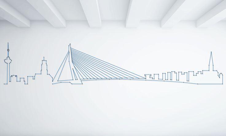 String-art pattern sheet SKYLINE ROTTERDAM (175 x 33cm) available at spijkerpatroon.nl