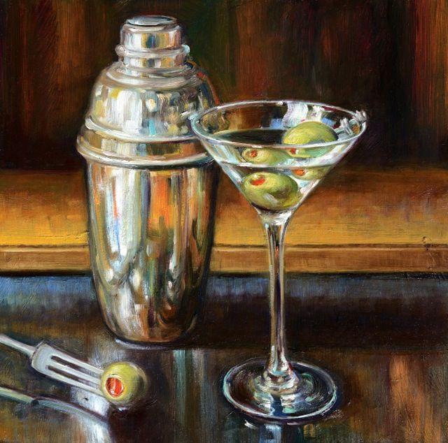 """Extra Dry"" Martini Painting by Caroline Zimmermann"