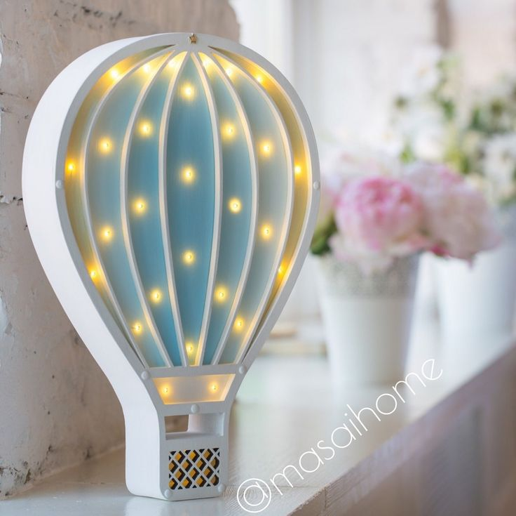 Original night light handmade. Lamp powered by 3 AA batteries. Battery lasts for 1.5 months in the mode of 4-5 hours per day. Battery can easily be replaced. The switch off/on - touch light system by MASAIHOME. Brightness adjustment. #nightlight #airballon #lamp #babyshower #babyroom #woodnightlight #forkids #forbaby #sweetdreams #gift #decor #decorforkids #ночник #лампа #ночниквдетскую #giftforbaby #kidroom #interior #room