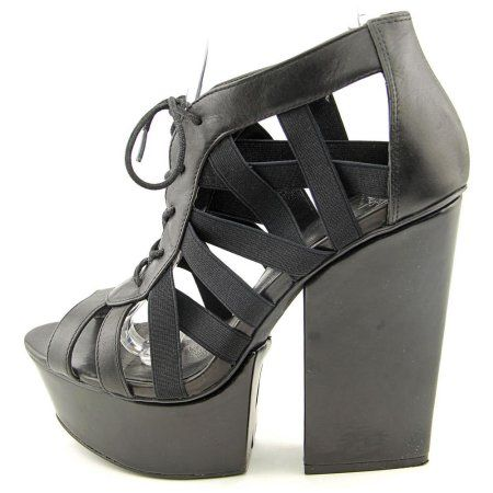 Shellys London Laufer Women Open Toe Leather Black Platform Sandal - Walmart.com
