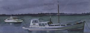 Ron Stenberg, 'Boats' Watercolour on paper, 140 x 350 mm, POA at the Remuera Gallery