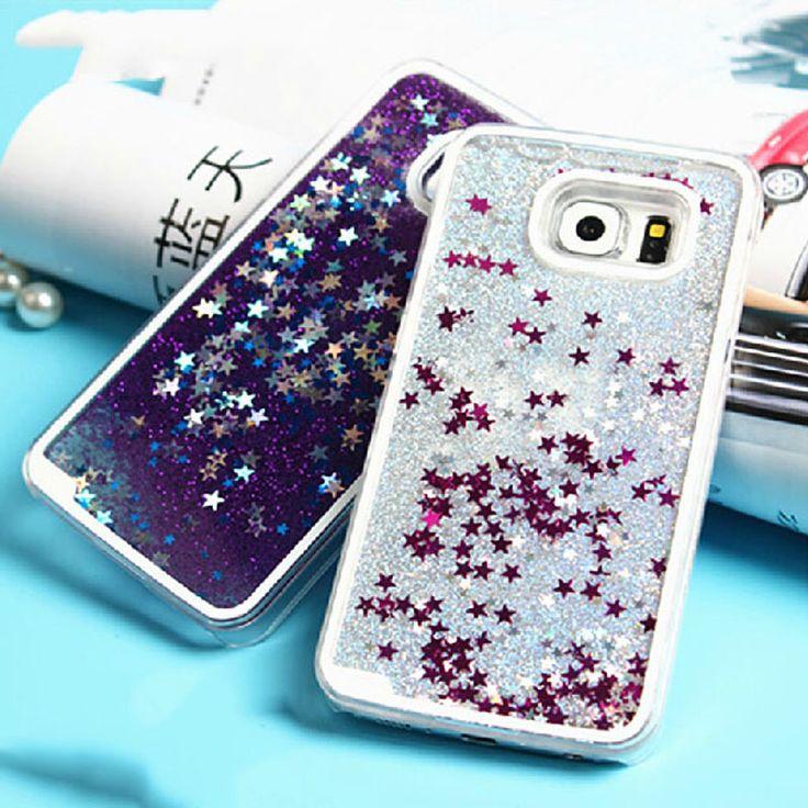 Para samsung galaxy s3 s4 s5 s6 s7 edge nota 3 4 5 Contraportada Glitter Stars Liquid Quicksand Duro Transparente Caja Del Teléfono y Bolsas