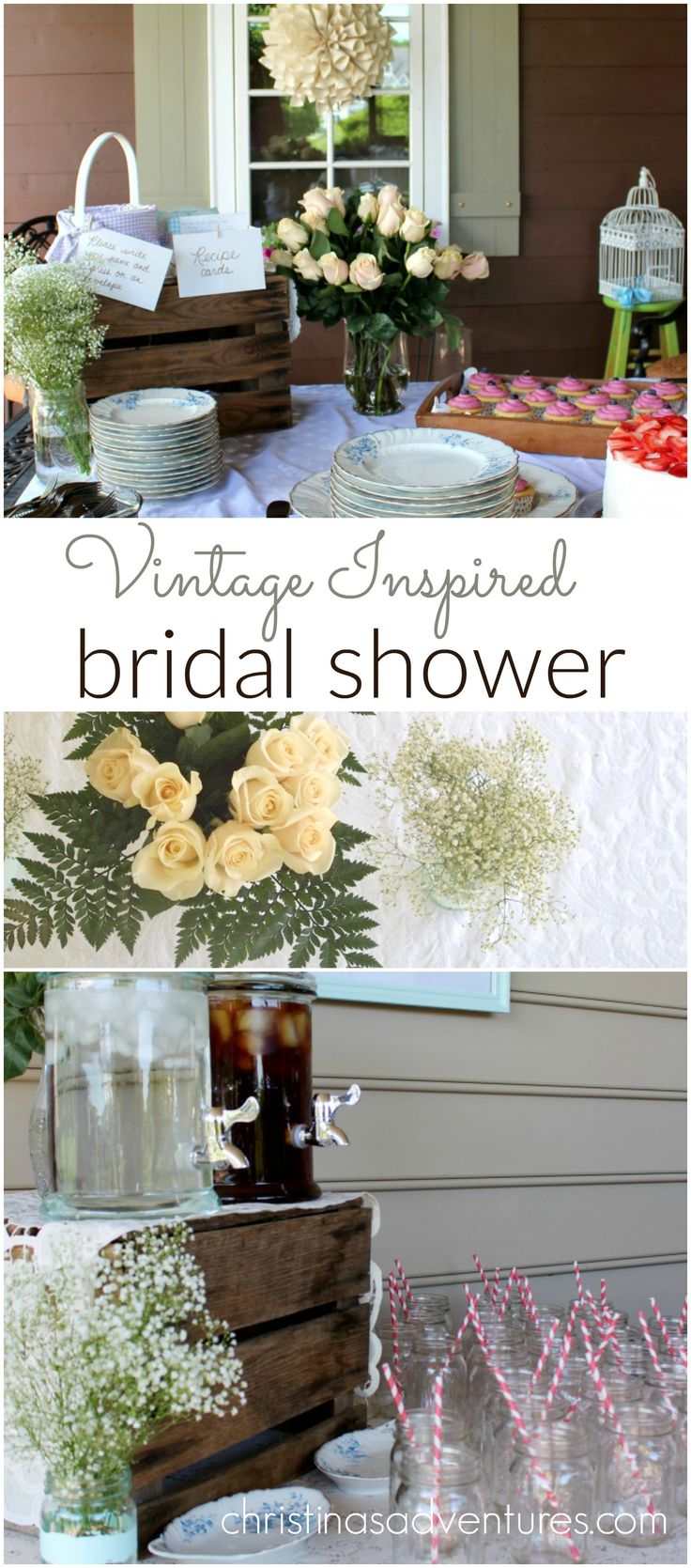 Vintage inspired+ bridal shower. This outdoors shower has lots of simple DIY ideas and beautiful inspiration pictures!