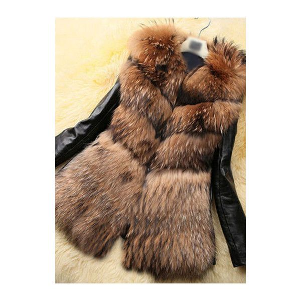 PU Patchwork Artificial Fur Coat ($38) ❤ liked on Polyvore featuring outerwear, coats, jackets, brown, brown coat, long brown coat, long fur coat, faux coat and faux fur coats