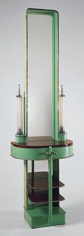 Kem Weber 'Skyscraper Night Table' 1928-29. [note the bulbs - incandescent]
