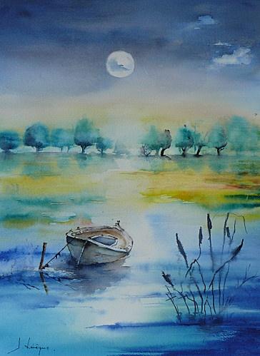 Fresh P modifié 1 boat on a moonlit lake lots of beautiful blues Contemporary - Simple Elegant lake painting Idea