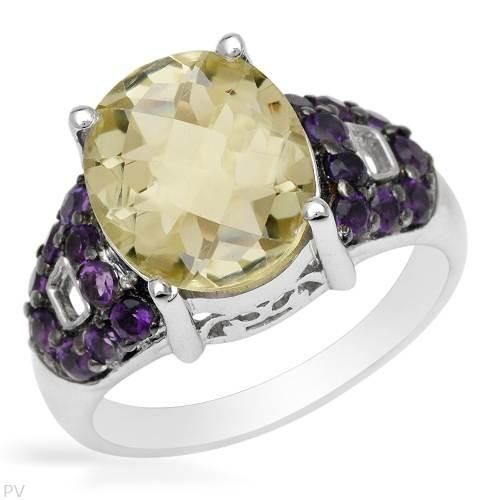 Size 8. Stylish ring with genuine amethysts and quartz made in 925 sterling silver. Total item weight 4.8g.  http://www.idealsmarter.com/?refid=31593e9f