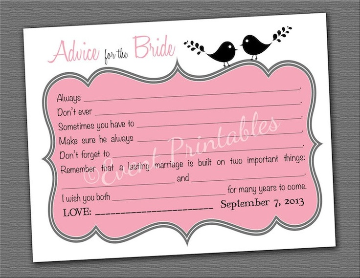 Printable Bridal Shower Advice Cards Lovebirds Collection Diy Mad Libs Guest Book