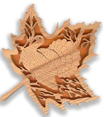 cross scroll saw patterns free | FL161 - Forest Leaf Turkey Pattern