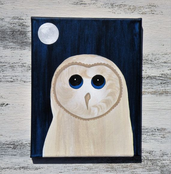 This original painting is hand painted with acrylic paints onto canvas. Honeybun the barn owl has blonde, light coloring and a gleam in her blue eyes. She is set on a two-tone rich blue background with a glowing, pearl white moon high in the sky. This painting is 8x10. Comes ready to hang with a wire hanger in the back of the painting. Thanks for visiting Ethels Barn
