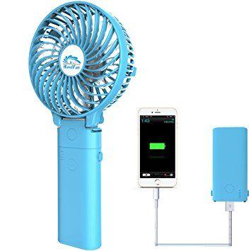 Mobile Power Fan,HandFan USB Rechargeable Fan mini Portable Fan Handheld Personal Fan Collapsible Electric Fan Desktop Fan with 4000mA Mobile Battery for Stroller Camping Tent Dorm Office(blue) Review 2017