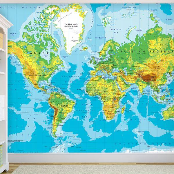 Mappa del mondo munditoon per decorare una parete #mappa #politica #adesivi #murali #vinile #deco #decorazione #muro #StickersMurali