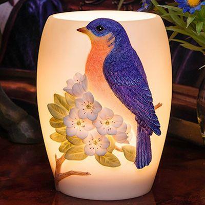 Bluebird on Cherry Blossoms Night Lamp, Asian Night Lamp | Japanese Style, Inc.