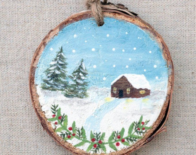 Snowy Cardinal Wood Slice Rustic Wood Decor Wooden Ornament Etsy Wood Ornaments Painted Ornaments Christmas Ornament Crafts