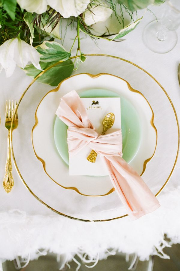 gold, blush, and mint color palette // photo by White Loft Studio // styling by Valentine // view more: http://ruffledblog.com/sweet-valentine-wedding-inspiration