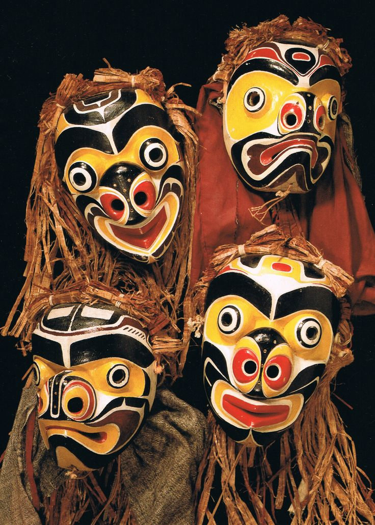Bee Masks Carved by Willie Seaweed and his son Joe Seaweed, Kwakwaka'wakw. 1940's UBC Museum of Anthropology Collection, Vancouver, CA Photo by W. McLennan