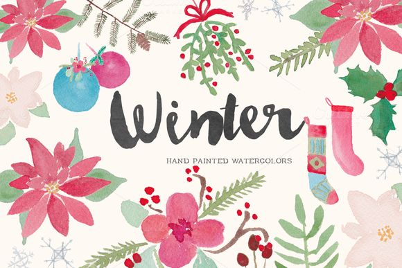 Winter Holiday Watercolor Clip Art by Bella Love Letters on Creative Market