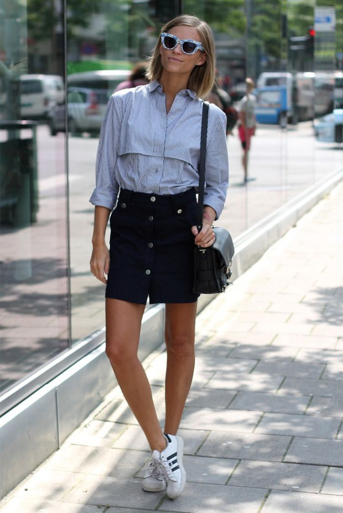 spring / summer  - street style - summer outfits - navy and white striped shirt + black denim button-front a-line skirt + white adidas sneakers + black shoulder bag + blue cat eye sunglasses