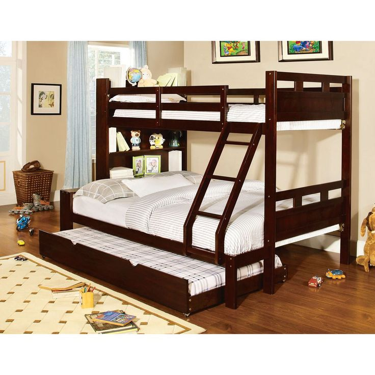 Fairfield Twin over full bunk is espresso finished designed with bookshelf. Perfect for a boys room, this sturdy bunk bed has a built-in ladder and handy bookcases. Matching twin size trundle is also available.