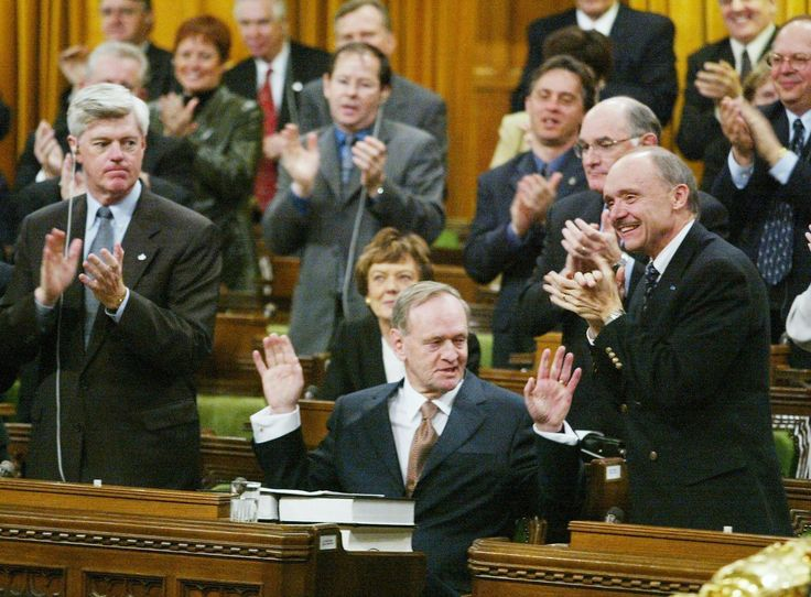 Prime Minister Jean Chrétien received a standing ovation after refusing to join the U.S. war in Iraq (2003)(These 99 Photos Define Canadas 21st Century So Far)