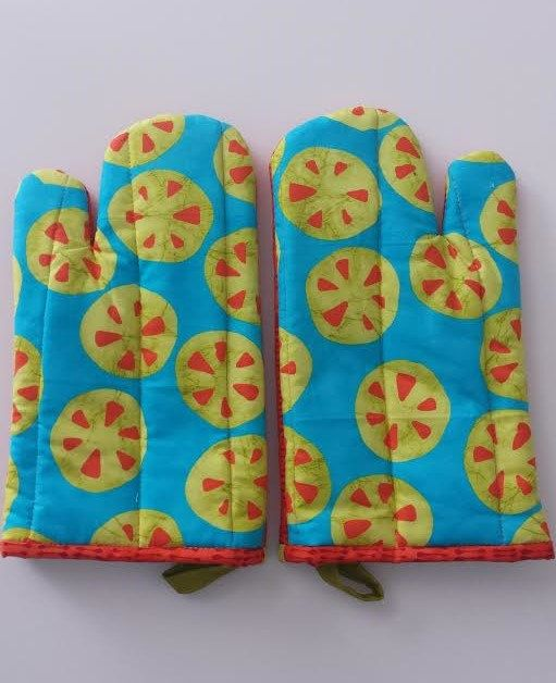 Modern Oven Mitts Pair of Lively Oven Mitts whimsical citrus