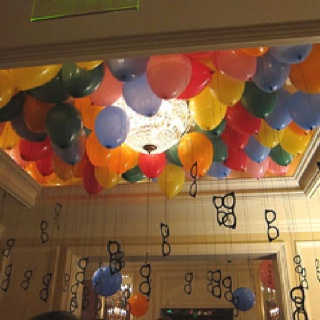 cute idea - glasses hanging from balloon - not sure if I want to take the time to do this