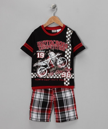 Take a look at this Black Motorcycle Tee & Plaid Shorts - Toddler by Little Rebels on #zulily today!