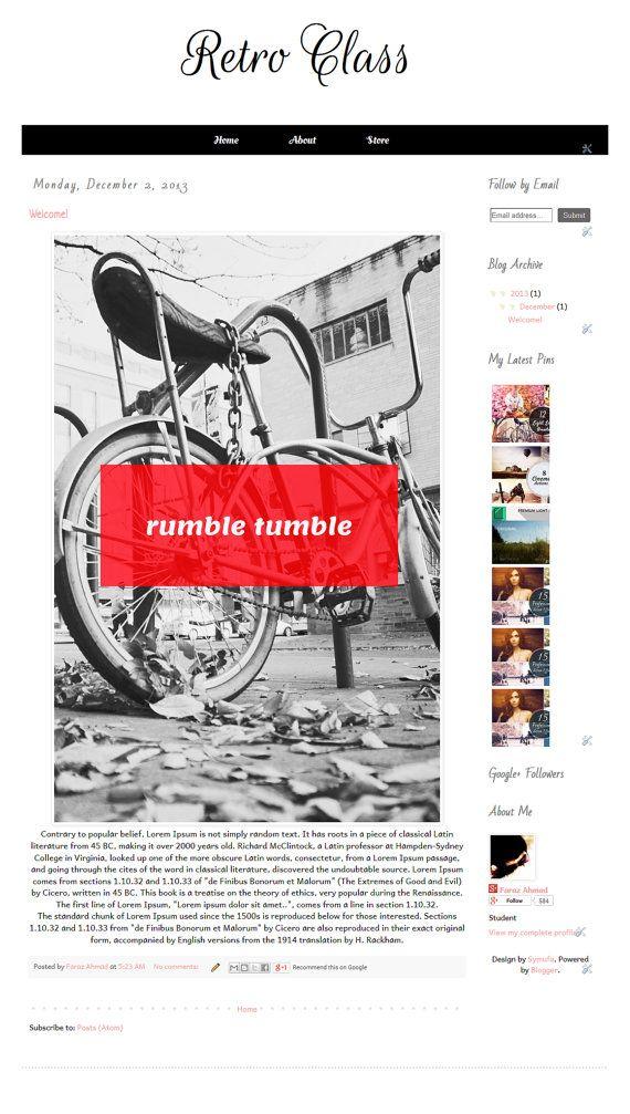 Retro Class  Premade Blogger Template   Instant Download by Symufa, $26.00