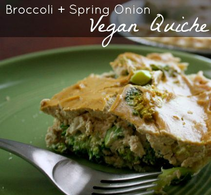 Ridiculously Easy Vegan Quiche with Broccoli and Spring Onions