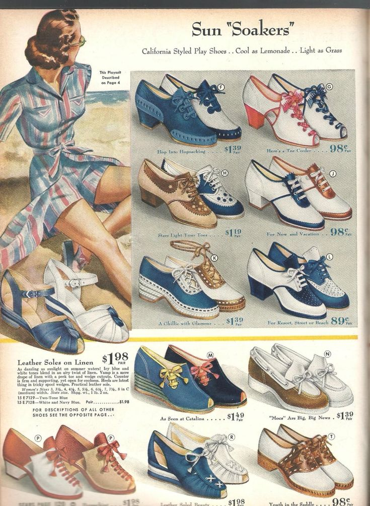 Sears shoes leather canvas sportswear casual day wear heels pumps wedge sandal open toe lace up oxfords saddle shoes spectator two tone blue white tan brown red navy color illustration print ad sun soakers 1940s war era WWII vintage fashion