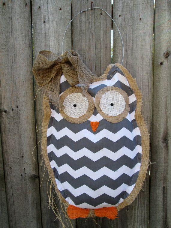 Owl Burlap Door Hanger Door Decoration Mixed Media Chevron Pattern. $28.00 via Etsy. & 52 best Burlap Door Hangers images on Pinterest | Burlap crafts ... pezcame.com