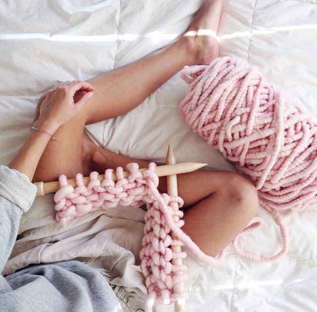 Repost from @andiscinger - knitting with Big Loop Yarn in Cotton Candy. http://loopymango.com