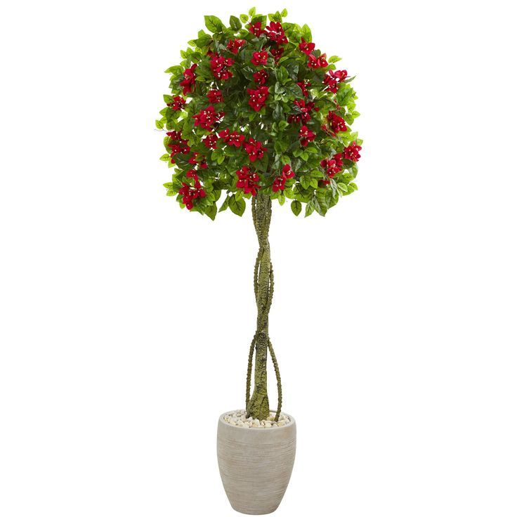 Nearly 5.5' Bougainvillea Topiary Artificial Tree in Sand Colored Planter