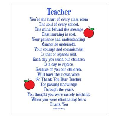 Preschool Christmas Poems for Teachers | CafePress  Wall Art  Posters  Teacher Thank You Wall Art Poster