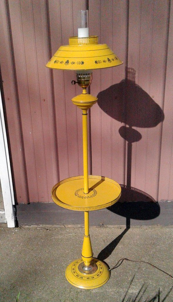 Vintage Colonial Tole Ware Yellow Floor Lamp With Tray Retro Mid Century Yellow Floor Lamps Retro Mid Century Vintage Floor Lamp