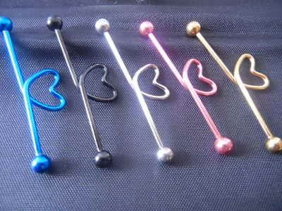 Industrial Ear Barbells Ear Scaffold Bar Heart Shape New