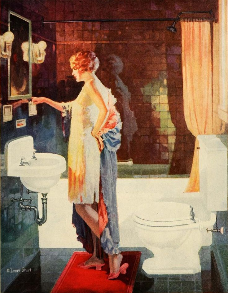 In the days before colored fixtures, a bathroom's visual interest had to come from the walls. Here, the moody glamour of metallic-luster tiles is beautifully rendered by R. James Stuart for a 1925 Standard-Sanitary ad.  A few decades later, in a series of hokey paintings that make Norman Rockwell's world-view seem downright cynical, Stuart was  painting creepy red-cheeked toddlers whose stiff anatomy & unconvincing gestures bear no resemblance at all to real kids. How the mighty have fallen…