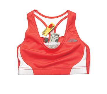 The North Face Stow-N-Go Sports Bra. I do this anyways but now there is an actual pocket for it.