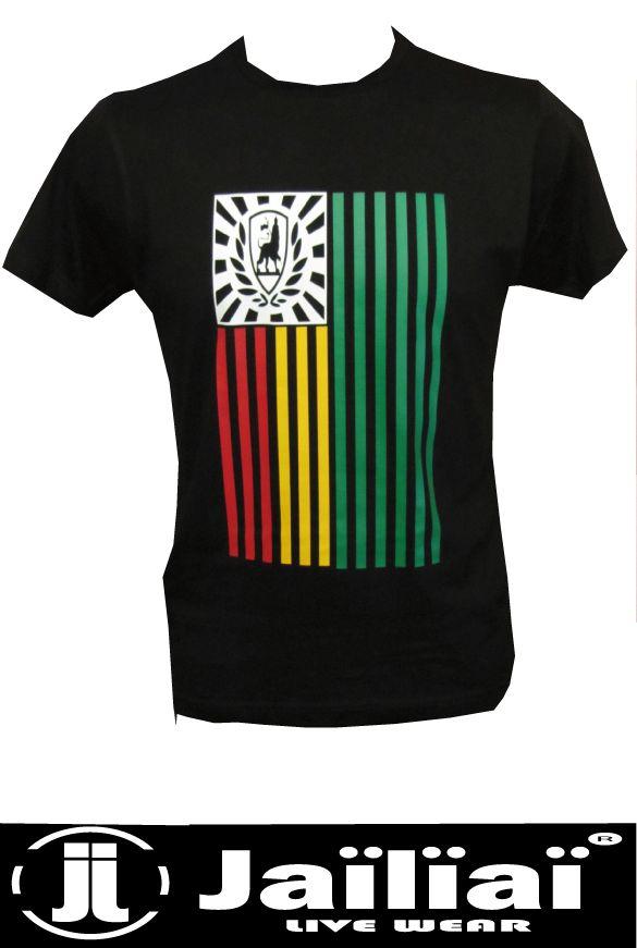 Tee Shirt Flag Conquering Lion Vert Jaune Rouge By Jaïlïaï - L'Underplace