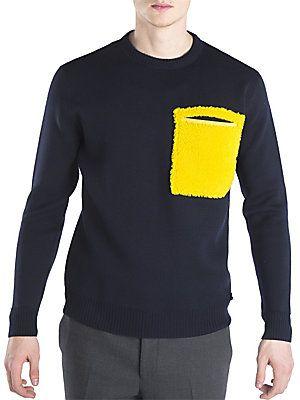 Fendi Shearling Real Lamb Fur Pocket Wool Sweater - Cobalto