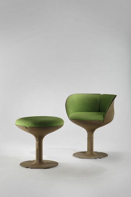 Available for sale from Demisch Danant, Pierre Paulin, Élysée Chair and Stool (1973), Cast aluminum, fabric, 46 × 19 69/100 in