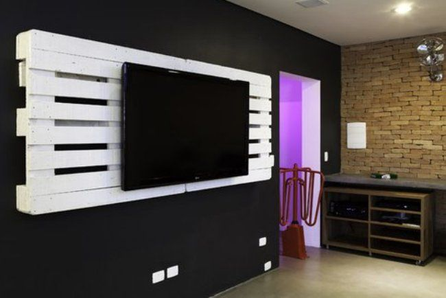PalletPallets Tv, Tv Wall, Wooden Pallets, Tv Holders, Tvs, Pallets Ideas, Wood Pallets, Recycle Pallets, Pallets Projects